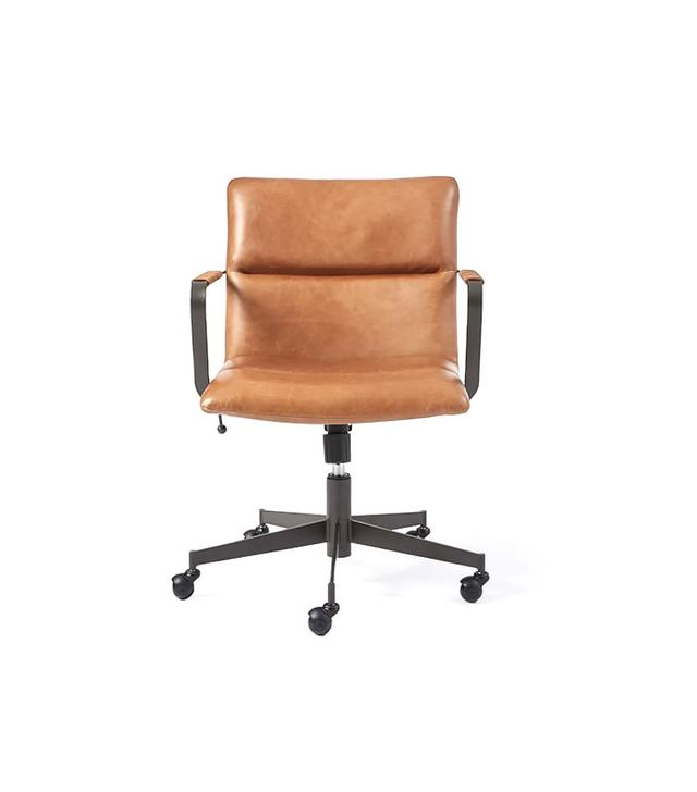 West Elm Cooper Midcentury Leather Swivel Office Chair