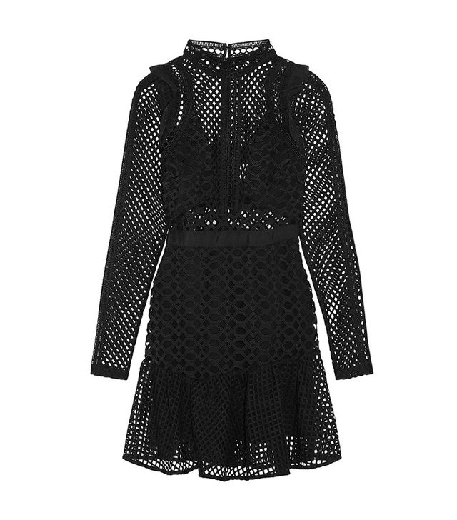 Ganni Flynn Stretch-lace Turtleneck Dress