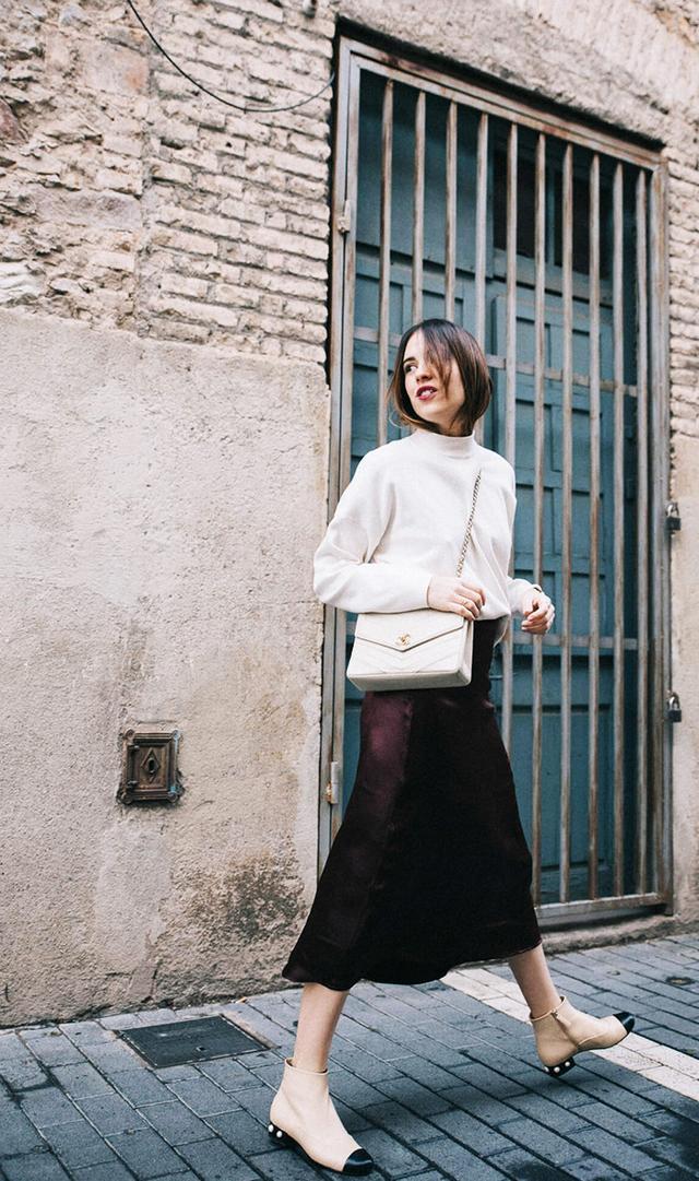 Silk skirt + sweater + flats