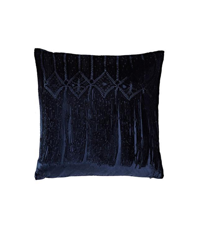 Aviva Stanoff Lace-Print Velvet Pillow