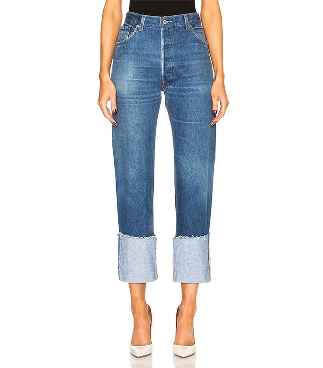RE/DONE | Levi's High-Rise Straight Cuffed Jeans