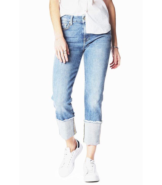 7 For All Mankind Boyfriend Jeans With Wide Raw Cuff