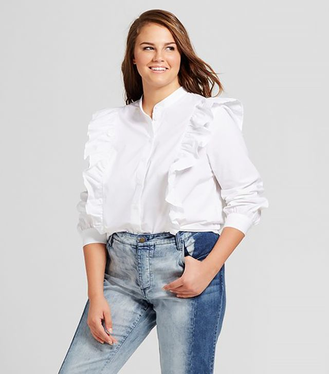 Who What Wear Plus Size Ruffled Poplin Blouse