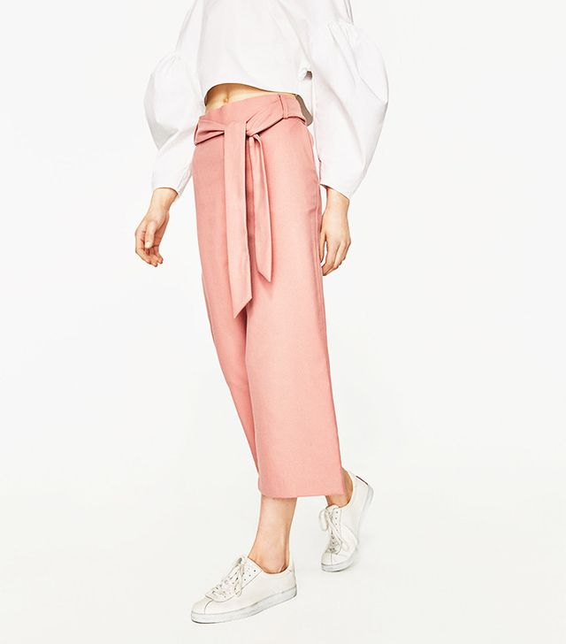 Zara Cropped Trousers With Belt