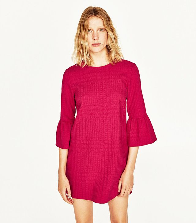 Zara Dress With Frilled Sleeves