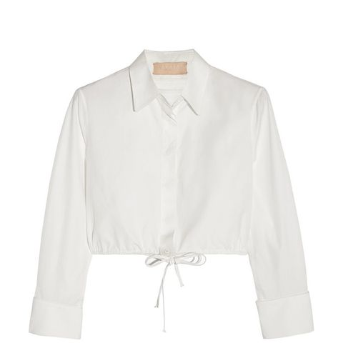 Cropped Ruched Cotton-Poplin Shirt