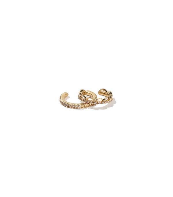 Adornmonde Oz Gold Crystal Ear Cuff Set