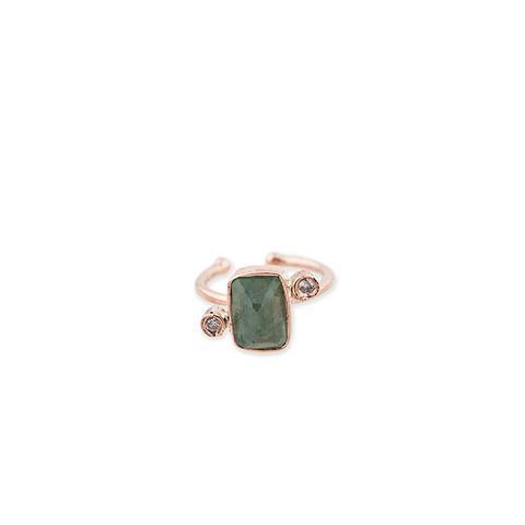 Green Tourmaline 2 Diamond Ear Band