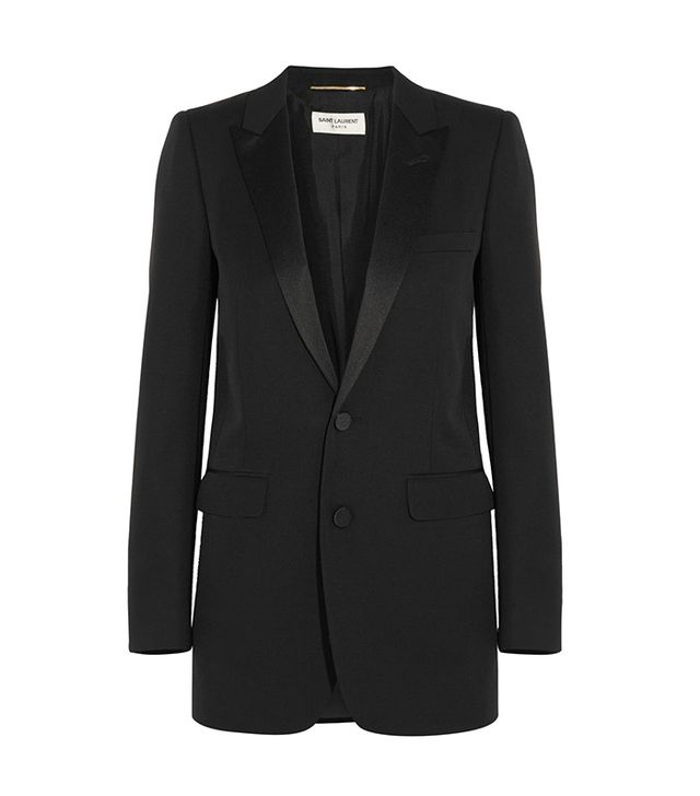 Saint Laurent Satin-Trimmed Wool Tuxedo Blazer