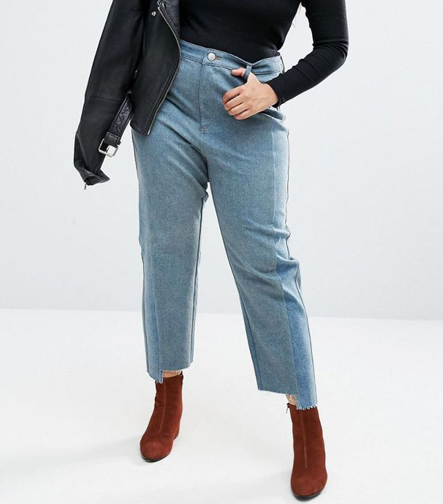 ASOS Curve Straight Leg Jeans in Tonal Deconstructed