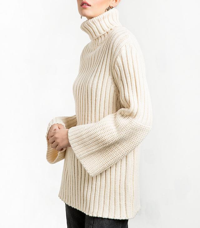 Pixie Market Bell Sleeve Turtleneck Sweater