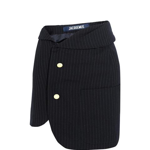 Pinstriped Wool Mini-Skirt