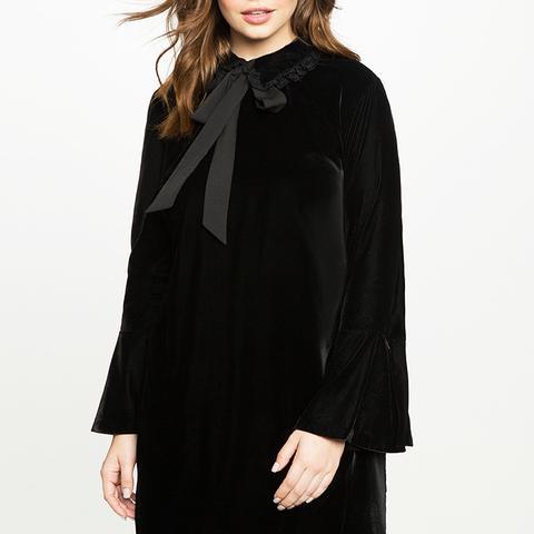 Velvet Tie Neck Flare Sleeve Dress