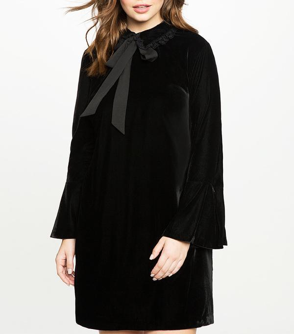 Eloquii Velvet Tie Neck Flare Sleeve Dress