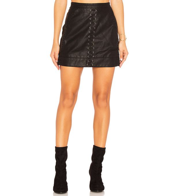 Blank NYC Lace Up Faux Leather Skirt
