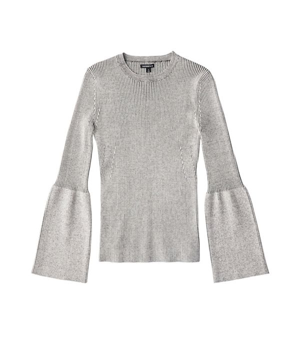 Who What Wear Ribbed Trumpet Sleeve Sweater