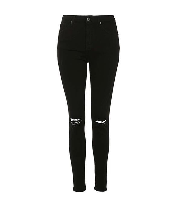 Topshop Moto Black Ripped Jamie Jeans