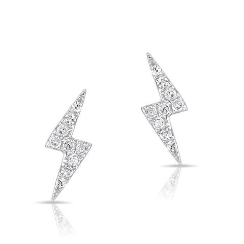 14KT White Gold Diamond Lightning Bolt Stud Earrings