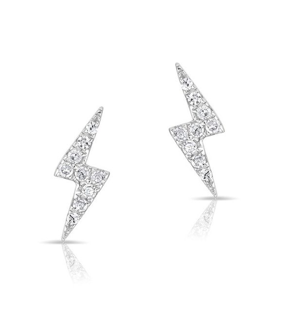 Anne Sisteron 14KT White Gold Diamond Lightning Bolt Stud Earrings
