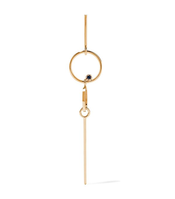 Sarah & Sebastian Long Bubble 14-karat Gold Sapphire Earring