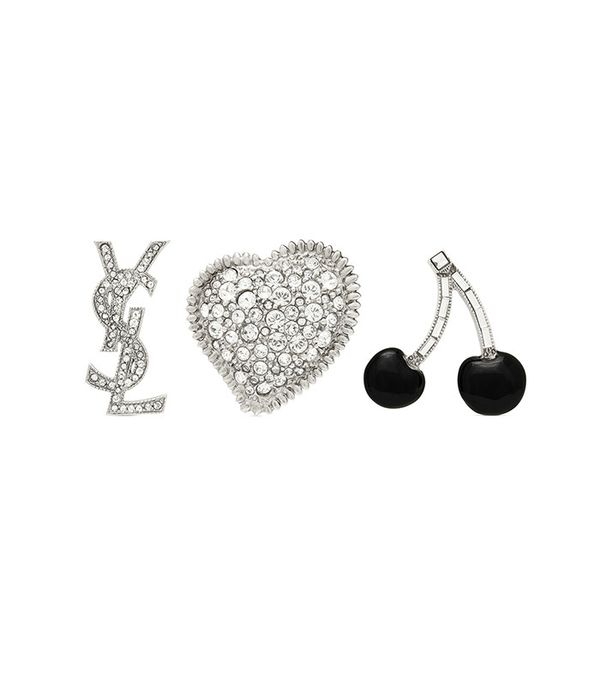 Saint Laurent Smoking Brooch Set in Silver, Black and Clear