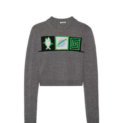 Cropped Intarsia Cashmere Sweater