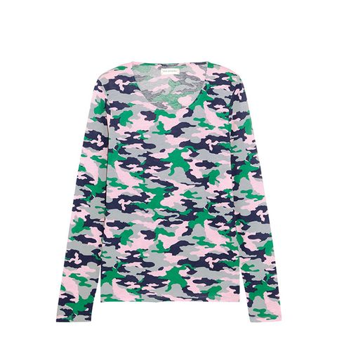 Camouflage-Print Cotton-Jersey Top