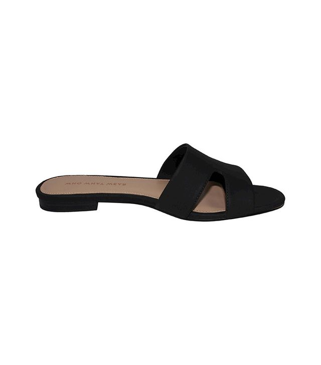 Who What Wear Carlie Faux Suede Slide Sandals in Black