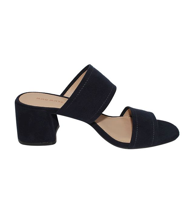 Who What Wear Carolina Double Band Block Heel Slide Sandals in Navy