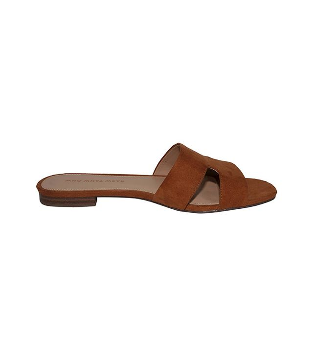 Who What Wear Carlie Faux Suede Slide Sandals in Cognac