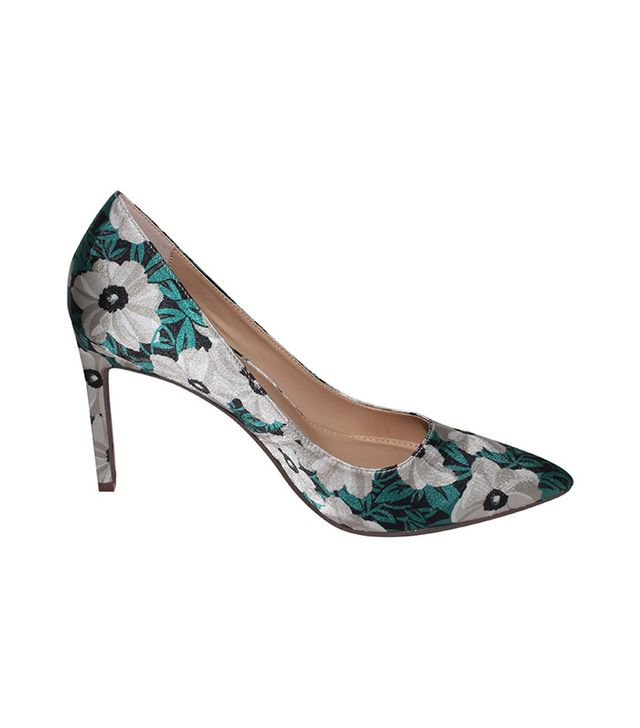 Who What Wear Ally Printed Satin Pumps in Green