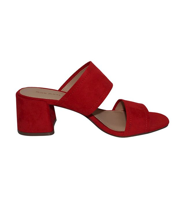 Who What Wear Carolina Double Band Block Heel Slide Sandals in Red