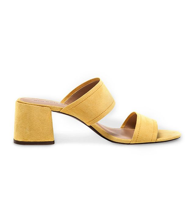 Who What Wear Carolina Double Band Block Heel Slide Sandals in Yellow