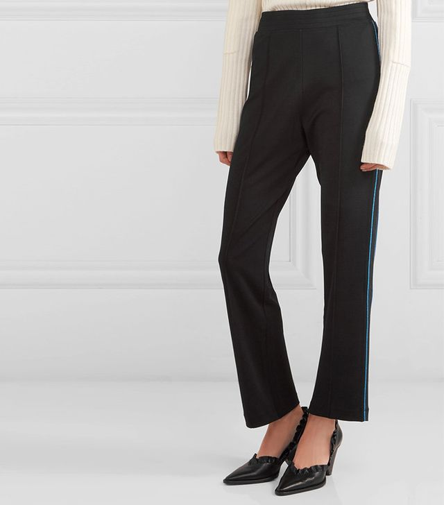Ganni Rogers Metallic-trimmed Stretch-jersey Track Pants