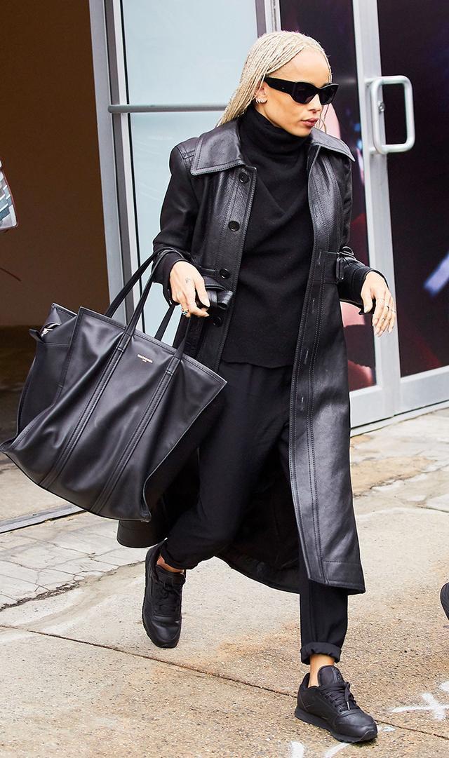 Zoe Kravitz in leather coat