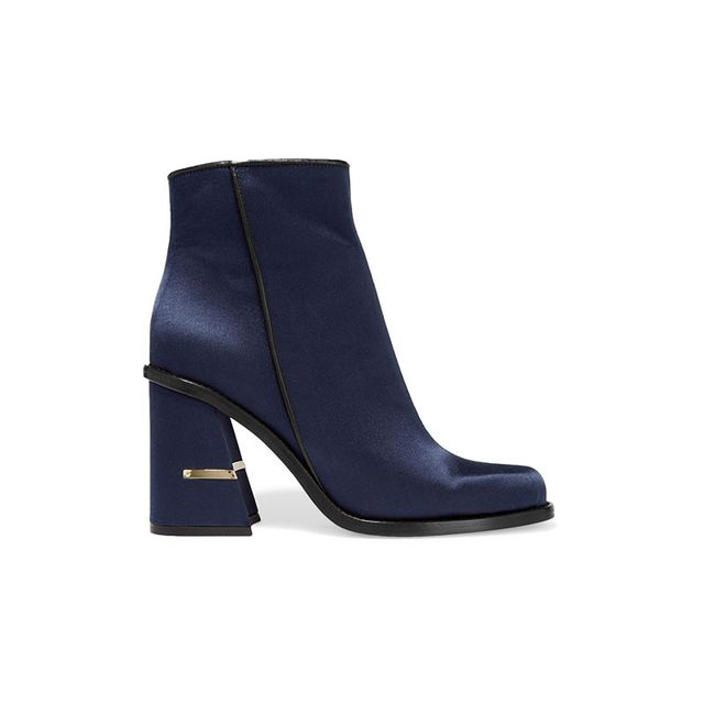 Tibi Nora Leather Satin Ankle Boots