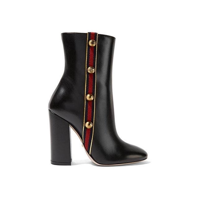 Gucci Embellished Canvas Trimmed Leather Ankle Boots