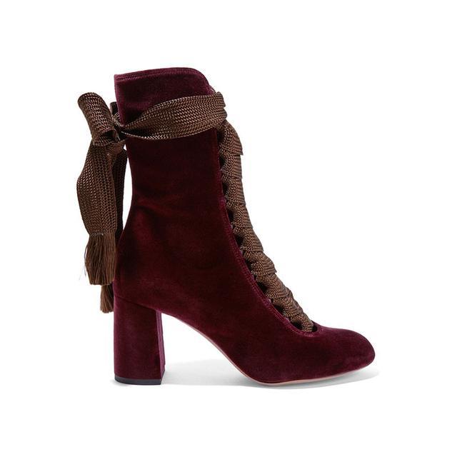 Chloé Lace Up Velvet Boots
