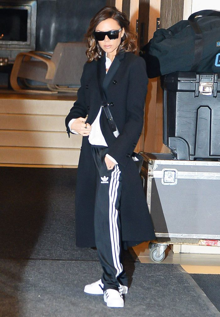 Victoria Beckham Adidas tracksuit and trainers