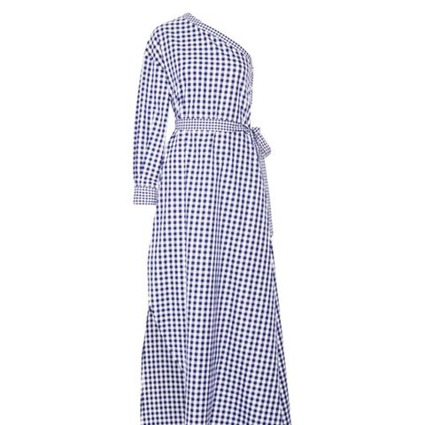 One Shoulder Gingham Gown