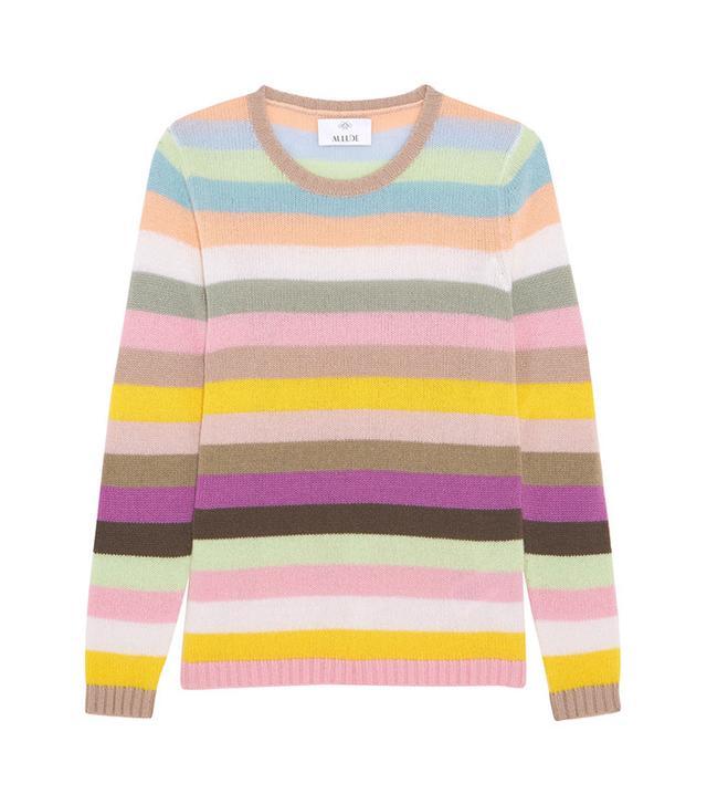Allude Striped Cashmere Sweater