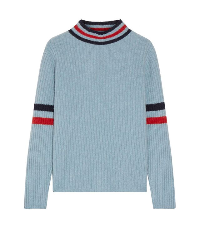 The Elder Statesman Odyssey Striped Ribbed Cashmere Turtleneck Sweater