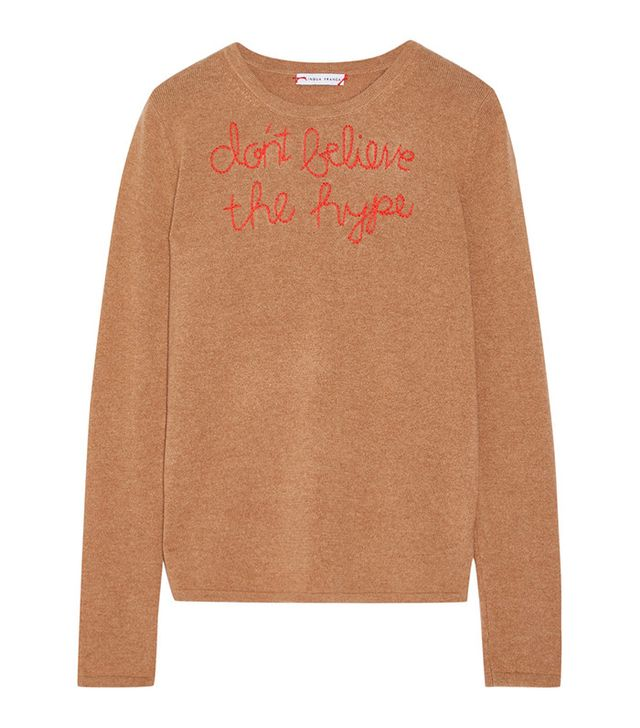 Lingua Franca Don't Believe The Hype Embroidered Cashmere Sweater