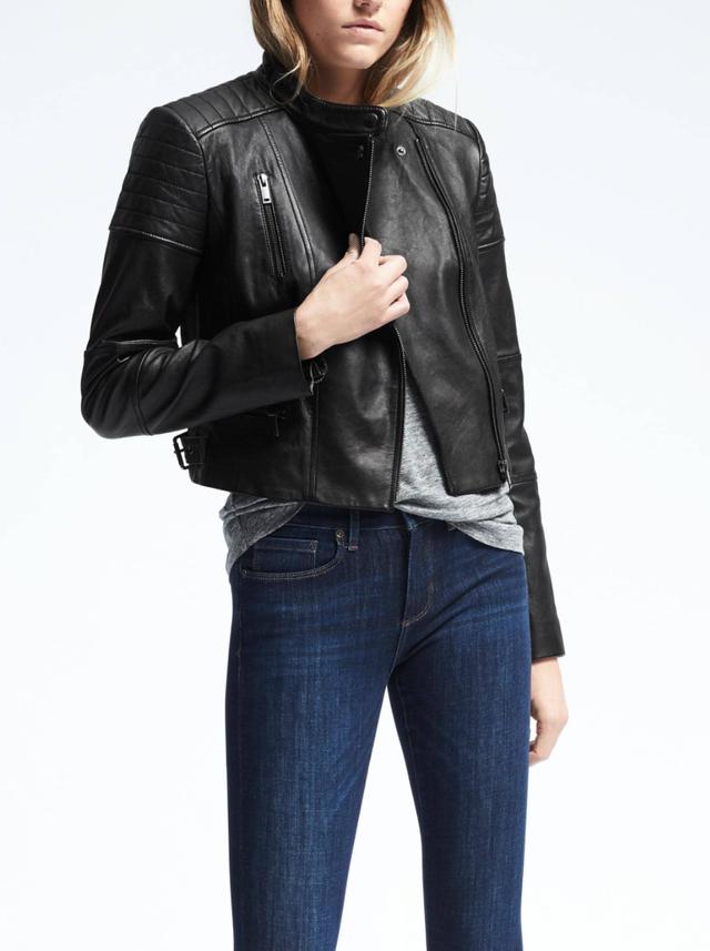 Banana Republic Black Leather Moto Jacket