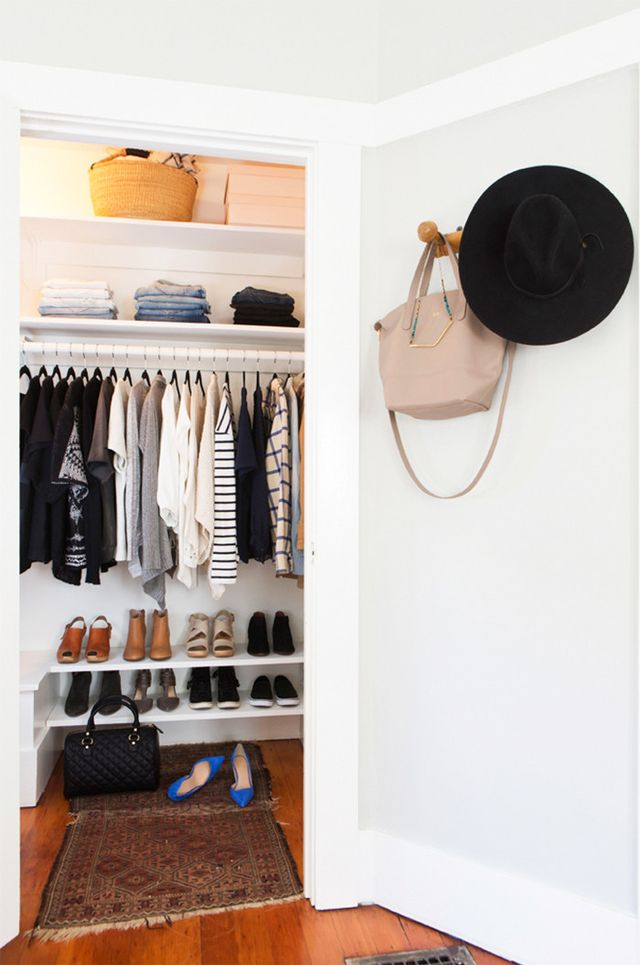 "Handbags: ""Handbags can be hung on sturdy hooks and clutches, and small evening bags can be stored in labeled bins or baskets. You can also use a shelf to line up handbags—Stuffing them and..."