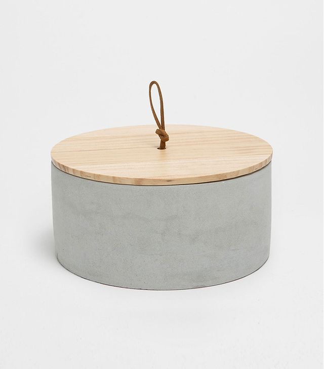Zara Home Round Cement and Wooden Box