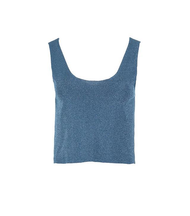 Tibi Metallic Sweater Cropped Tank