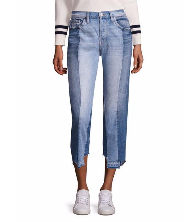 Frame Le Nouveau Mix Paneled Raw-Edge Jeans