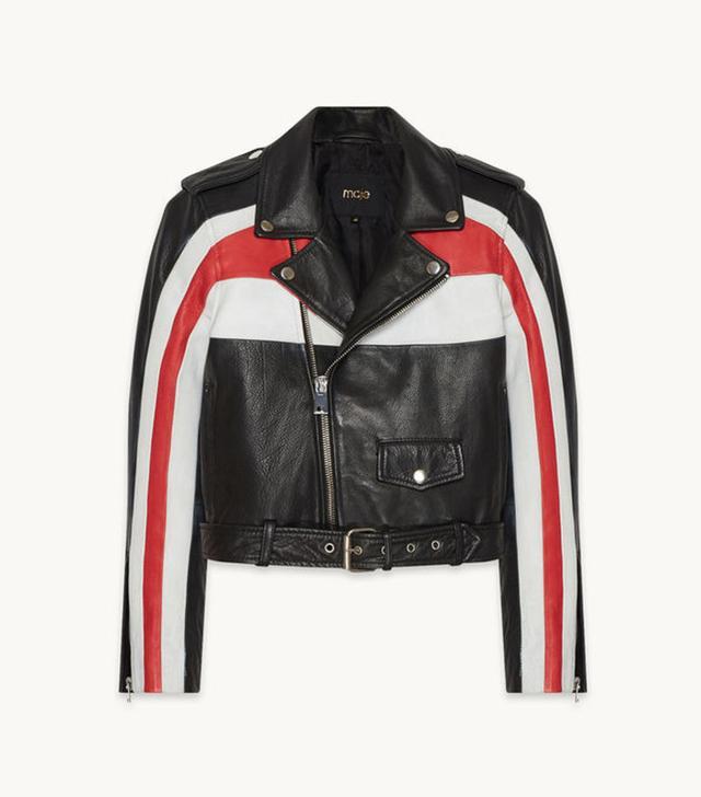 Maje Beril Tricolor Leather Jacket