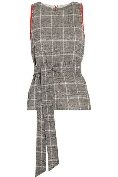 Cefinn Belted Prince of Wales Checked Wool-Blend Top